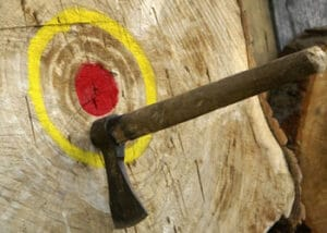 Throwing Axe In Board