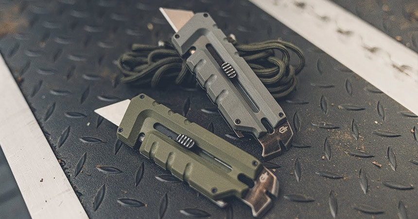 Utility knives on bench.